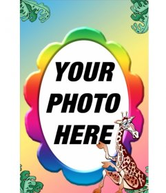 Photo frame with many colors and a giraffe, oval shaped