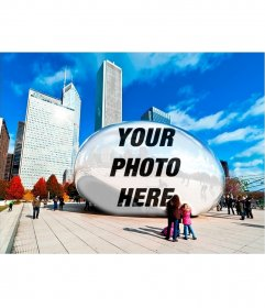 Photomontage with your reflection in an oval statue