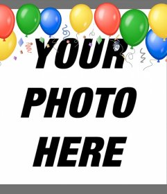 Balloons in your photos with this party frame to edit online