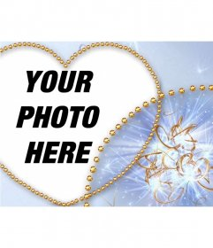 Heart shaped photo frame with gold buttons and blue background