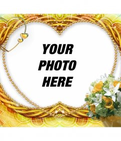 Photo frame heart-shaped and flowers decorations