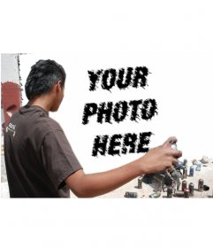 Template for photomontage in which we see an artist of graffiti on a wall, painting your picture