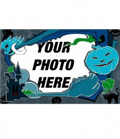 Blue Photo frame for Halloween