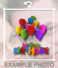 Sticker with balloons and happy birthday text that you can put your photos online and make a postcard