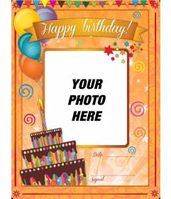 Birthday card with orange background and funny drawings to be customized online