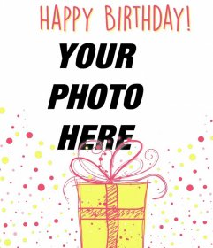Illustrative photomontage to celebrate a happy birthday with a decorative gift
