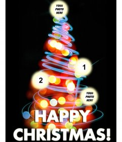 Photo effect for 4 photos in which you can put pictures in the balls. And the text HAPPY CHRISTMAS