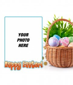 Photo frame with an image of Easter eggs with text