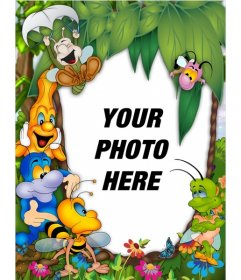 Child picture frame with happy animals where you can put your photo