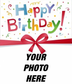 Frame photos of a postcard or greeting card birthday very colorful, you can customize including a photograph of your choice