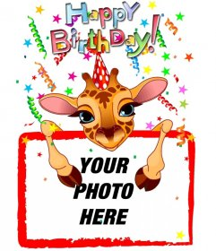 Customizable greeting card with a giraffe birthday