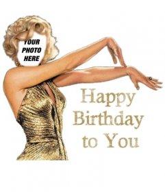 Happy birthday card with Marilyn Monroe customizable