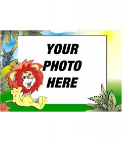 Child picture frame to put your picture, of a smiling lion