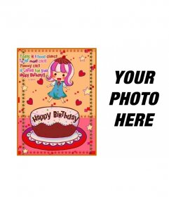 Birthday Card for children. With a picture of a girl with a cake, hearts and stars