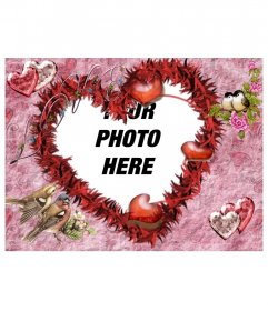 Picture Frame, Heart Shaped. Background and bright pink birds imitating hearts. For lovers