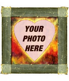 Photo frame heart-shaped style with rusty iron