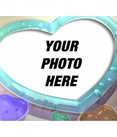 Photo frame with heart shape and colors hearts