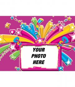 Rose frame for a picture of stars and hearts full of colors, from pink and purple background
