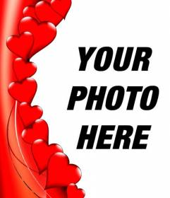 Edge to photos in the form of red hearts where you can put your photo