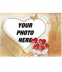 Photo frame with heart shape accented with white doves and hearts