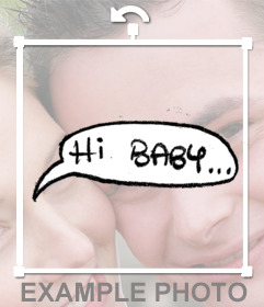 Sticker of a speech balloon with the phrase HI BABY to decorate your photos
