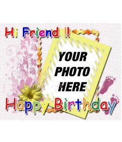 Birthday card with the text Hi Friend Happy birthday color and personalize with a photo