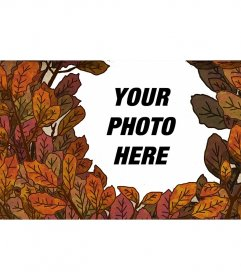 Autumn photo frame with tree leaves