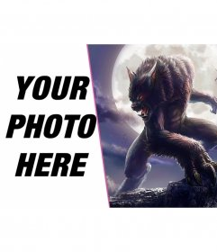 Photomontage with a wolf man