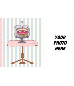 Birthday eCard with the drawing of a cake