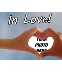 "Create your valentine, Valentine""s Day, personalized with your photo or just a touch of love to a photograph with two hands making a heart as a photo frame"