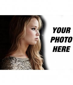 Photomontage with Jennifer Lawrence looking at her side