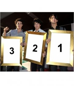 Photomontage of Kevin, Joe and Nick of the Jonas Brothers that will hold three photos you upload