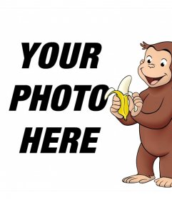 Picture frame with the character Curious George picnicking a banana