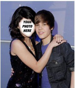 Photomontage of Justin Bieber with a girl to put your face