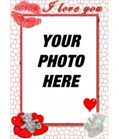 Online love frame with hearts kiss and I love you