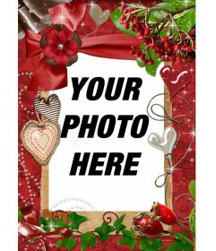 """Red rectangular frame for a picture. We motifs and pearl hearts and cloth. To compliment this Valentine""""s Day as a complement to your gift"""