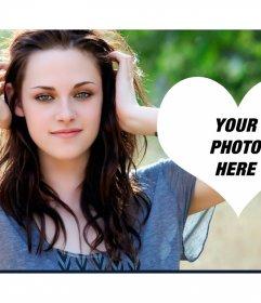 Photomontage with a heart next to Kristen Stewart