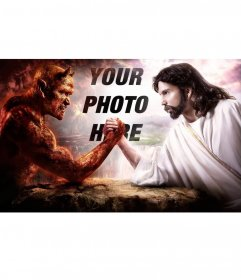 Photomontage to put your photo between good and evil