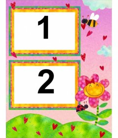 Child picture frame with pictures of a bee and a flower. For two photos