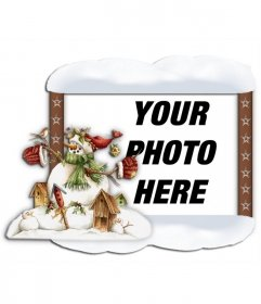 Photo frame with snow edge and a snowman. Put your photo in the bacgound online and free