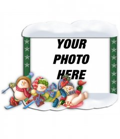 Christmas photo frame with ornaments of kids skating