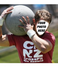 Photo montage with a strongman man carrying a huge stone