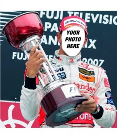Photomontage to put a face on the F1 champion Lewis Hamilton