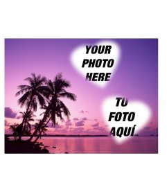 Card where you can put two photos heart-shaped with an idyllic landscape of sea and palm trees in shades of lilac
