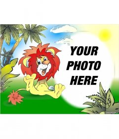 Photo frame drawn smiling lion in the jungle