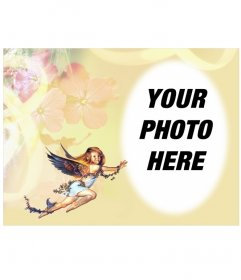 Photo frame: little angel in rounded picture frame