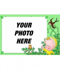 Photo frame for children with green background, birds and a baby