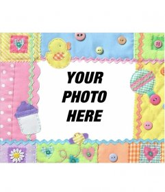 Fabric photo frame for baby, very nice. Put a photo of your baby in the background
