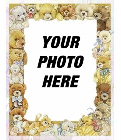 Photo frame with pictures of babies bears surrounding your image