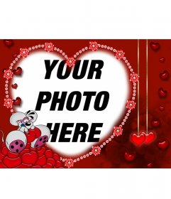 "Mouse in love for Valentine""s day card with your photo with heart-shaped edge"